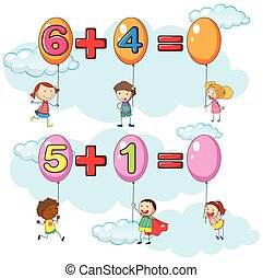 Kids and two addition questions in sky illustration