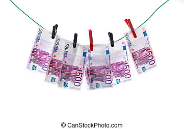 Money laundering - 500 euro banknotes hanging on a...