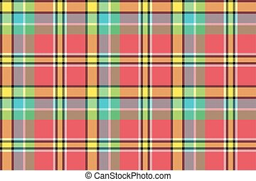 Red yellow check plaid seamless fabric texture. Vector...