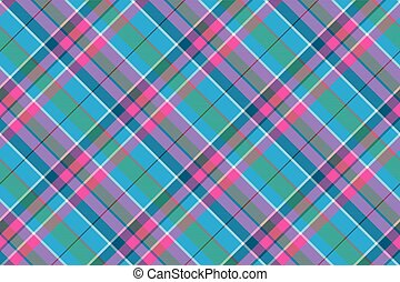 Fabric textile blue pink green check plaid seamless pattern