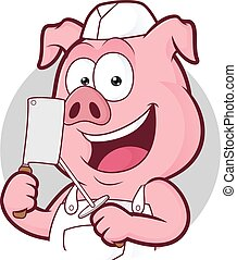 Pig butcher in round frame - Clipart picture of a pig...