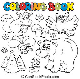 Coloring book with forest animals 1 - vector illustration