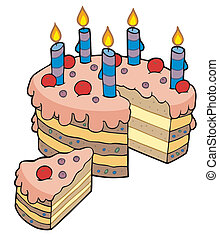 Cartoon sliced birthday cake - vector illustration.