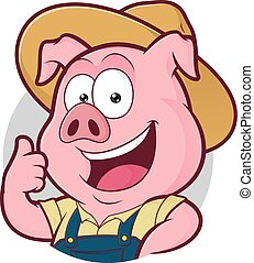 Pig farmer giving thumbs up in round frame - Clipart picture...
