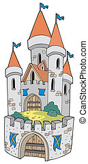 Cartoon castle with fortification - vector illustration