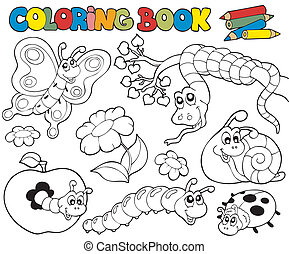 Coloring book with small animals 1 - vector illustration.
