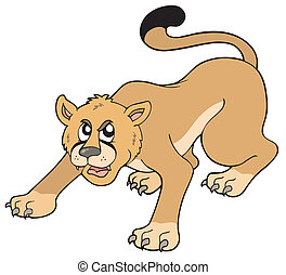 Cartoon puma on white background - vector illustration.