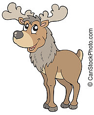 Cartoon reindeer on white background - vector illustration.