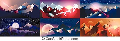 Set background mountain landscape in flat style - Stock...