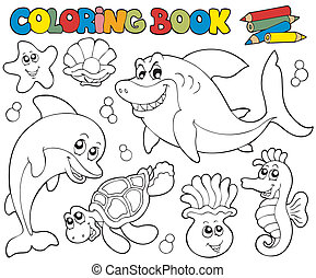 Coloring book with marine animals 2 - vector illustration
