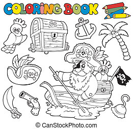 Coloring book with pirates 1 - vector illustration.