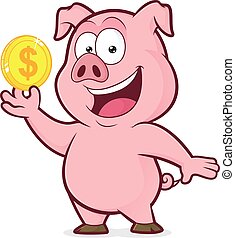 Pig holding gold coin