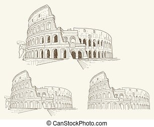 Colosseum hand drawn vector illustration isolated - Three...