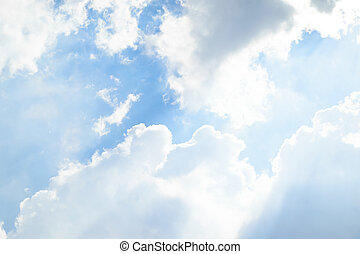 Blue sky cloud - Nature cloudscape with blue sky and white...