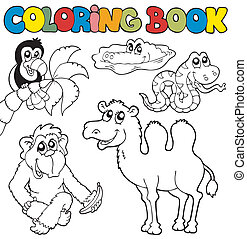 Coloring book with tropic animals 3 - vector illustration.