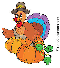 Thanksgiving turkey with pumpkins - vector illustration.