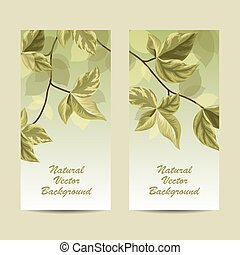 Set of vertical banners. Spring brunch with leaves on green...