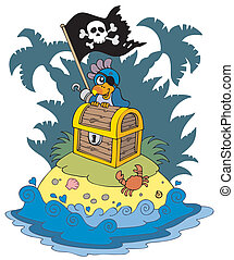 Treasure island with pirate parrot - vector illustration