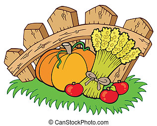 Thanksgiving motive with harvest - vector illustration