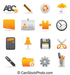 09 Yellow Office Icons - Professional vector set for your...