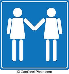 lesbiana, gente, bienvenida, vector