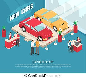 Car Dealership Leasing Composition - Colored car dealership...