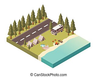 Camp Isometric Design - Camp isometric design with road...