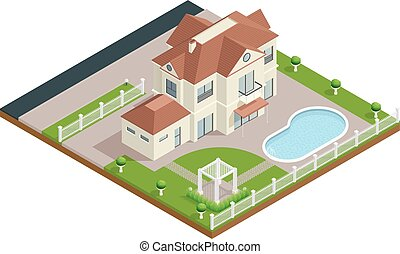 Suburb House Isometric Composition - Suburb house isometric...