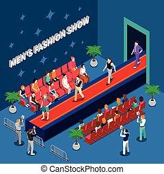 Mens Fashion Show Isometric Illustration - Mens fashion show...