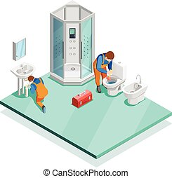 Plumbers In Modern Bathroom Isometric Image - Plumbers...