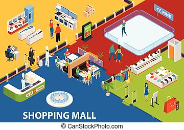 Shopping Center Set Object - Shopping mall background with...