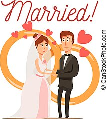Newly Married Couple Composition - Marriage divorce set flat...
