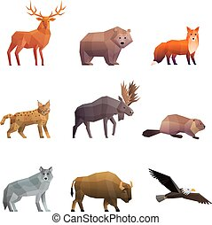 Northern Wild Animals Polygonal Icons Set - Wild northern...