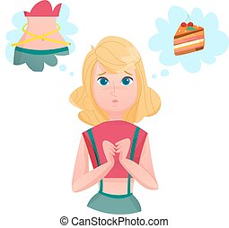 Dieting Lining Lady Temptations Cartoon Character - Young...