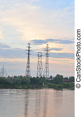 Power line and Neva River. - Power line and Neva River at...