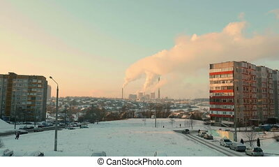 Thermal power plant in the evening. Real time wide shot.