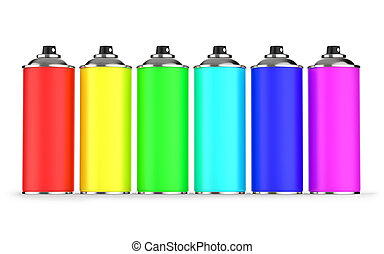 Aerosol cans - Colorful aerosol cans isolated on white...