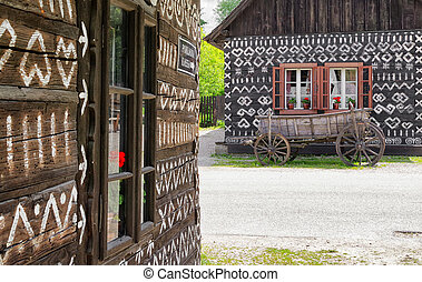 Old horse carriage - Wooden rural ornamental cottage in...