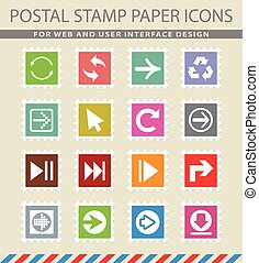 arrow icon set - arrow web icons on the postage stamps
