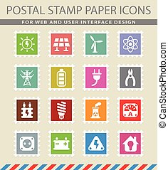electricity icon set - electricity web icons on the postage...