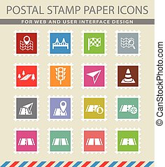 road icon set - road web icons on the postage stamps