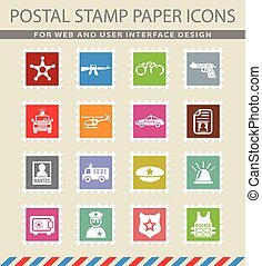 police icon set - police web icons on the postage stamps