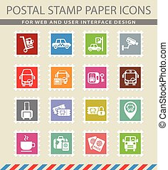 bus station icon set - bus station web icons on the postage...