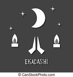 Ekadasi. the eleventh day. Hindu holiday. Black background....
