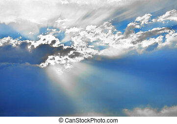 Blue sky with clouds and sun rays - Beautiful sky with rays...