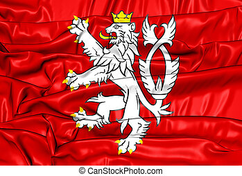 Flag of Bohemia (Coat of Arms), Czech Republic. 3D Illustration.