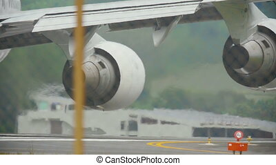 Engines of widebody airplane - Close-up engines widebody...