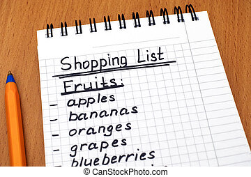 Handwritten shopping list of fruits with pen