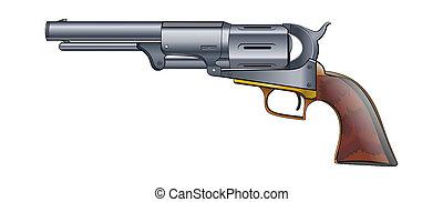 Colt Revolver Pistol on white background. Vector.