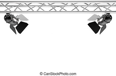 Stage light isolated on white background 3D rendering